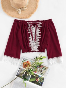 Off Shoulder Lace Panel Blouse