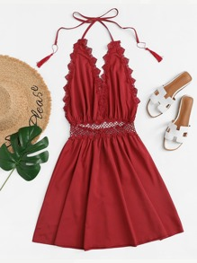 Lace Trim Fringe Halter Dress