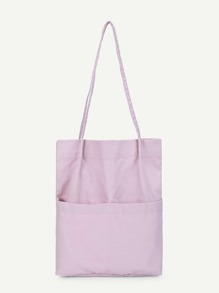 Plain Pocket Front Tote Bag