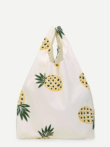 Pineapple Print Canvas Tote Bag