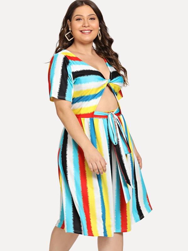 Plus Cut Out Twist Front Tie Dye Striped Dress