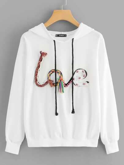 Pearl and Tassel Detail Embroidered Hoodie