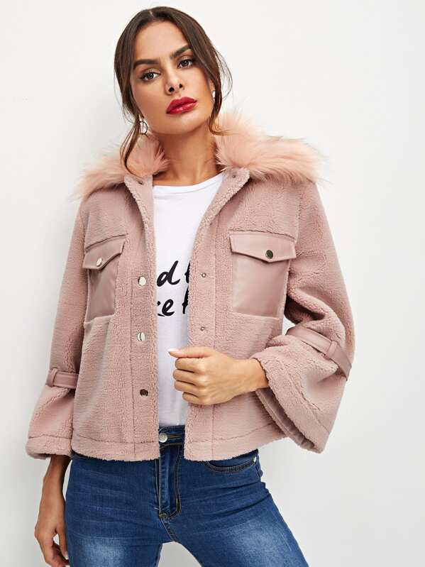 93e1878a12 Button & Pocket Front Faux Fur Coat | SHEIN