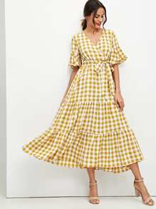 Flounce Sleeve Tie Waist Surplice Wrap Plaid Dress