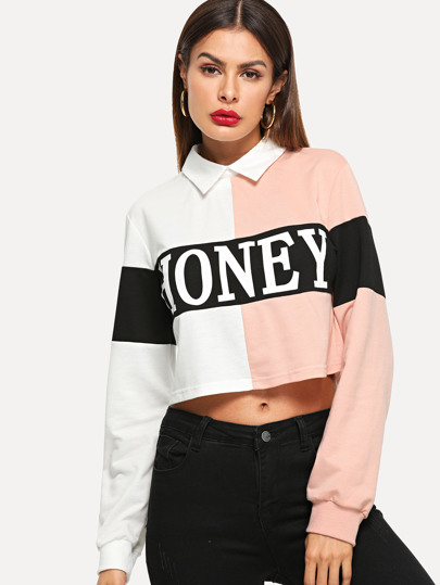 Cut-and-Sew Letter Crop Sweatshirt