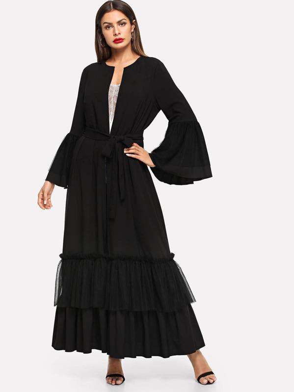 75c673d9f83d54 Cheap Flounce Sleeve Tiered Ruffle Hem Abaya for sale Australia