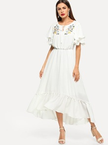 Flower Embroidery Ruffle Dip Hem Dress