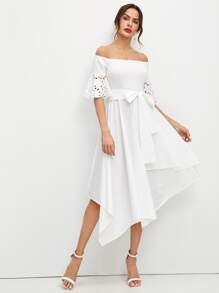 Laser Cut Sleeve Hanky Hem Bardot Dress