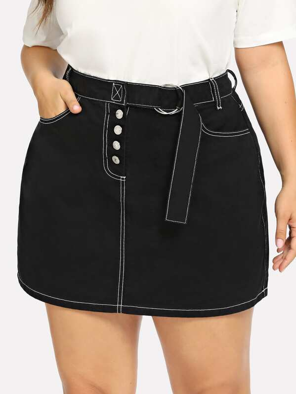 8be0294d85 Plus Pocket Patched Buttoned Skirt | SHEIN