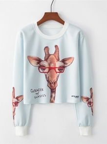 Giraffe And Letter Graphic Pullover