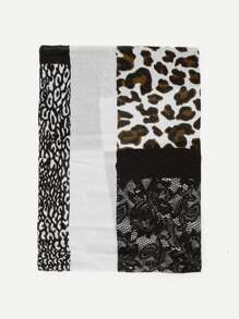 Contrast Lace Leopard Scarf