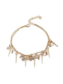 Bat & Star Detail Chain Anklet