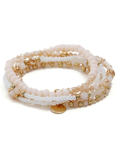 Disc Detail Beaded Bracelet Set 5pcs