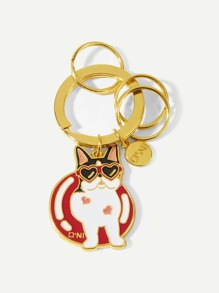 Dog & Disc Detail Ring Keychain