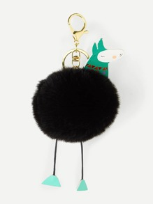 Cartoon Design Pom Pom Keychain