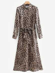 Leopard Print Self Tie Shirt Dress
