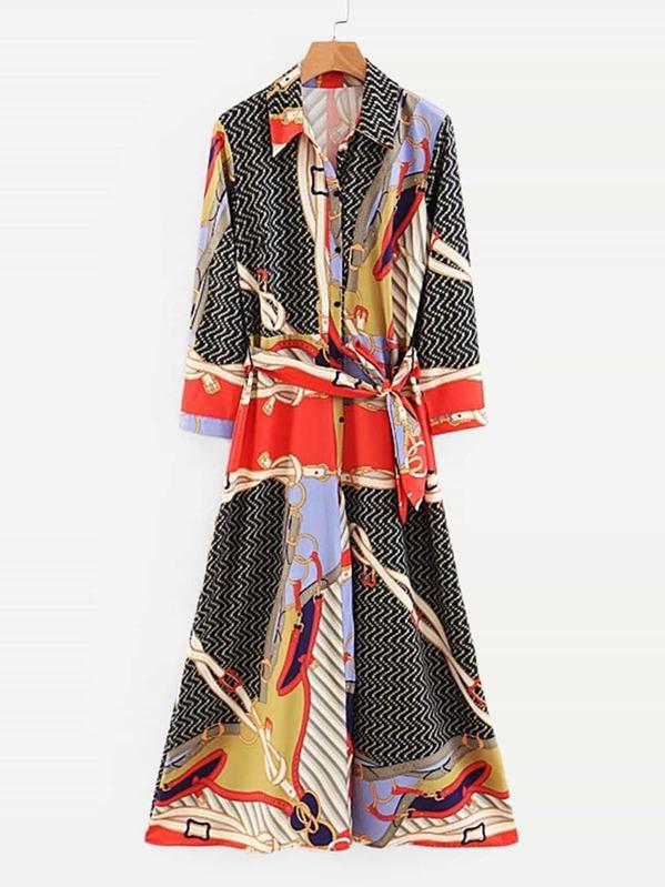 6c6800e9ab926 Chain Print Button Through Self Tie Shirt Dress | SHEIN UK