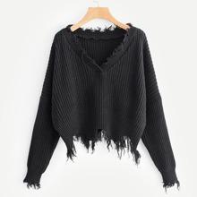 Frayed Trim Drop Shoulder Sweater