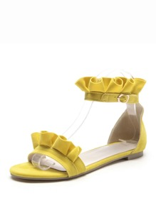 Ruffle Decor Two Part Sandals