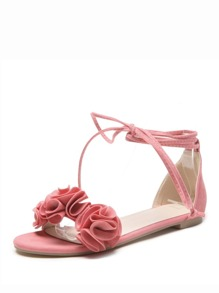 Tie Leg Floral Decor Sandals