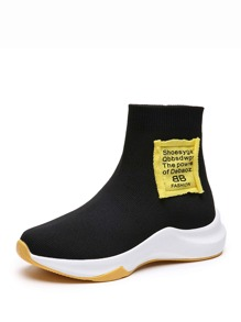 Contrast Patch Decor Sock Sneakers
