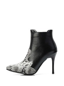 Snake Embossed Stiletto Heeled Boots