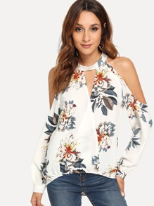 Cut Out Neck Floral Print Cold Shoulder Blouse