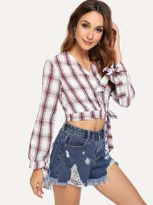 Plaid Knot Wrap Blouse