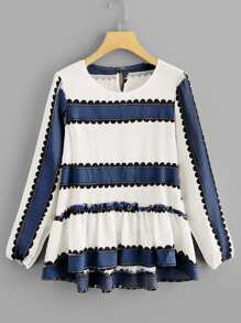 Striped Frill Trim Dip Hem Blouse