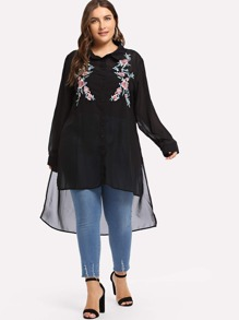 Plus Embroidered High Low Detail Blouse