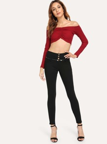 Button Detail Belted Solid Skinny Pants