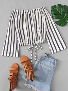 Striped Knot Front Off The Shoulder Blouse