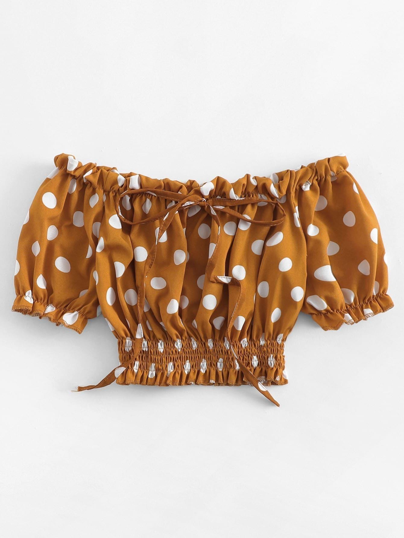 schulterfreie bluse mit punkte und halsband german romwe. Black Bedroom Furniture Sets. Home Design Ideas