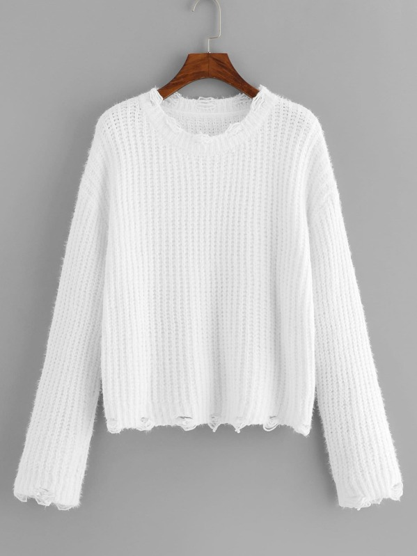 7ce0a8531f Cheap Drop Shoulder Ripped Knit Sweater for sale Australia | SHEIN