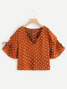 Drawstring Bell Sleeve Polka Dot Top