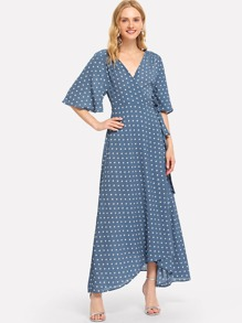 Polka Dot Flutter Sleeve Self Tie Surplice Dress
