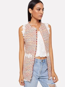 Lace Contrast Tweed Shell Top