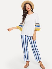 Layered Fringe Embellished Top and Striped Pants Set