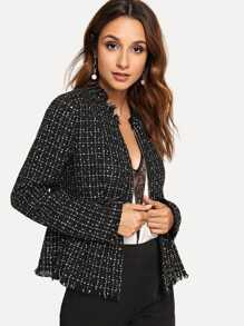 Zip Up Raw Hem Peplum Tweed Coat