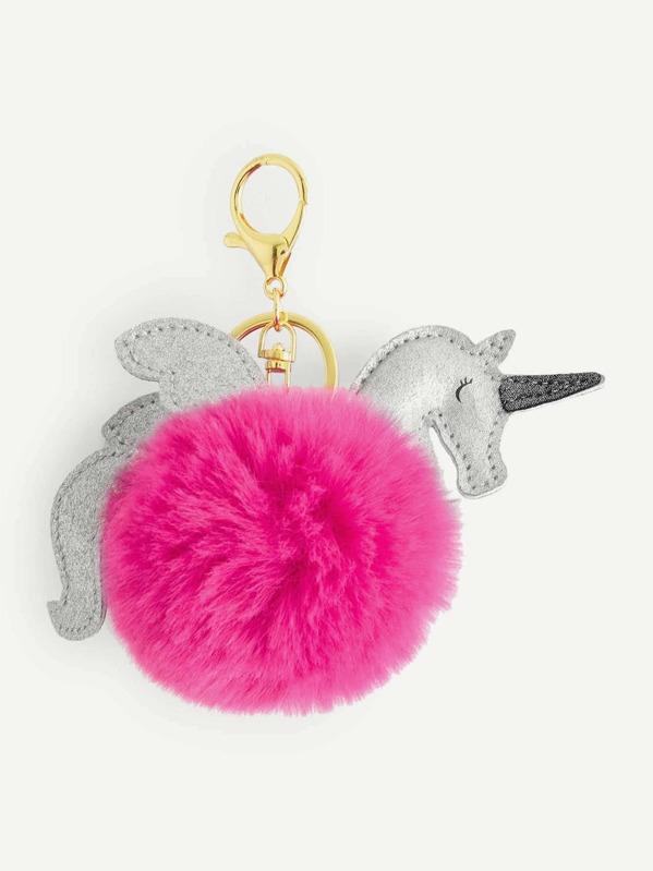 4eeffdf219 Neon Pink Unicorn Design Pom Pom Keychain | SHEIN