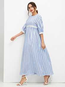 3D Applique Striped Smock Maxi Dress