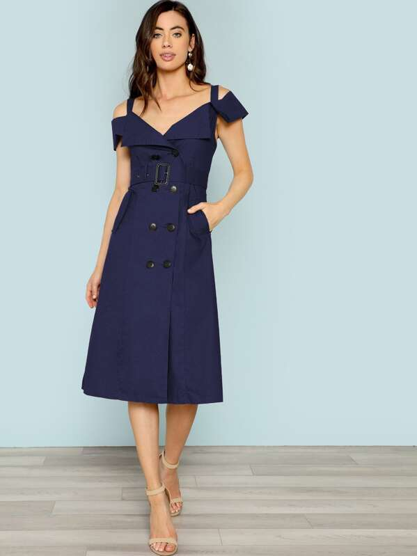 095261d0e0 Cold Shoulder Belted Utility Trench Dress | SHEIN