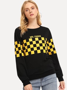 Letter Print Plaid Pullover