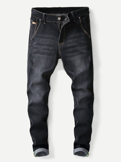 Guys Plain Washed Skinny Jeans