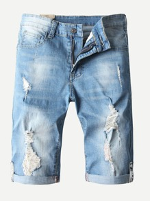 Men Rolled Hem Destroyed Denim Shorts