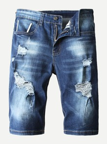 Men Destroyed Washed Denim Shorts