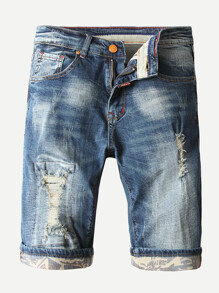 Men Destroyed Rolled Hem Denim Shorts