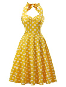 Polka Dot Knot Back Flare Dress