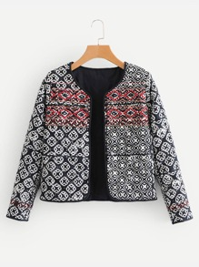 Geo Embroidered Quilted Jacket