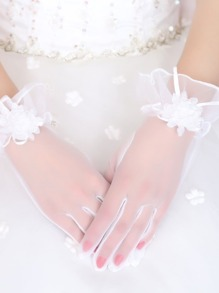 Flower Decorated Lace Gloves